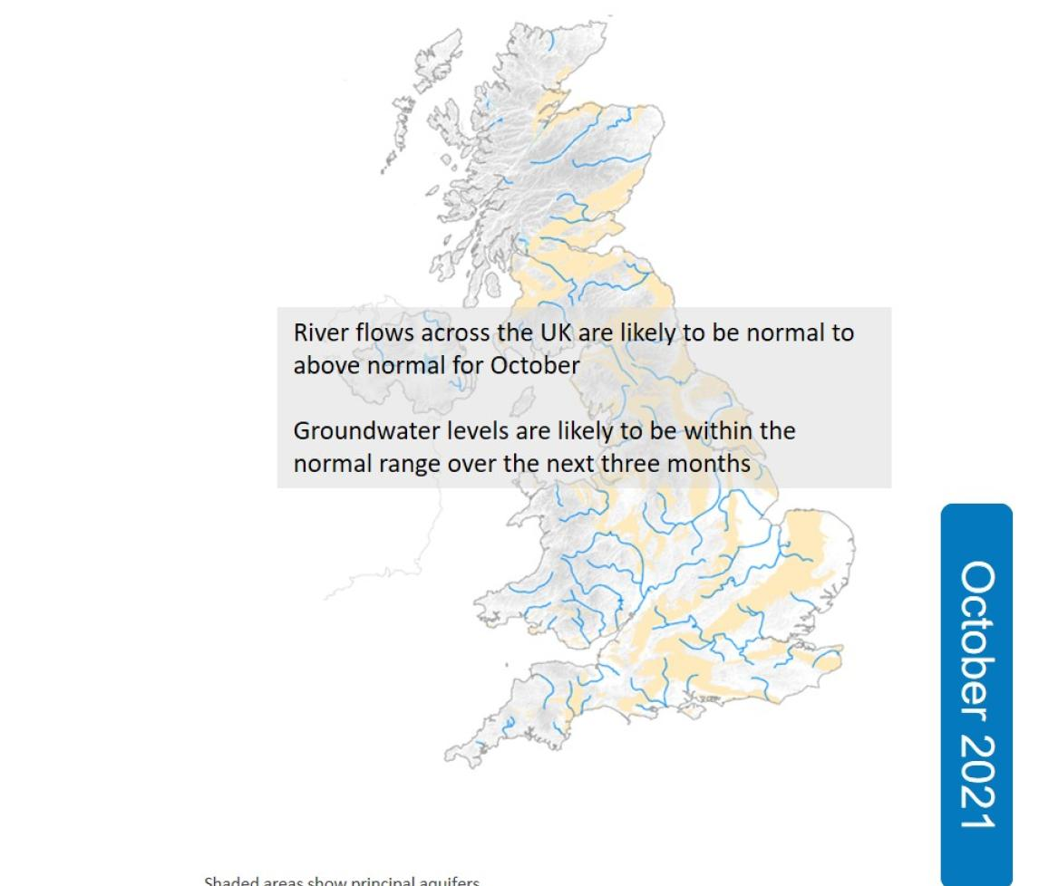 Outlook map for October 2021, showing that River flows and groundwater levels in October are expected to be normal to above normal across the UK.